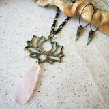 Rose Quartz & Pink Patina Lotus necklace