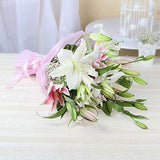 White & 5 Pink Lilies