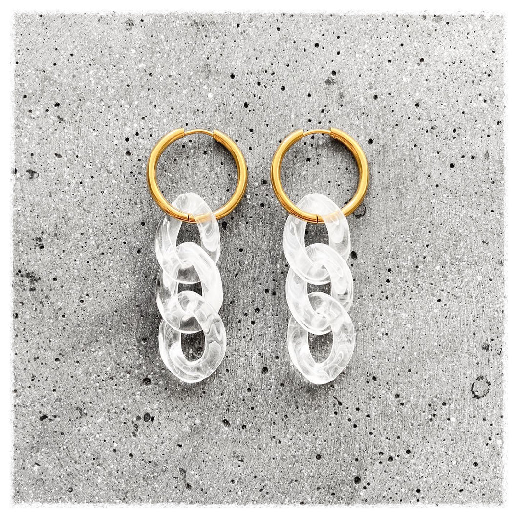 Big link hoops - transparent/guld