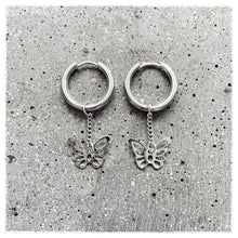 Butterfly chain hoops - sølv