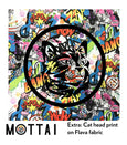 Fabric mottai surf with cat head print at backside of board