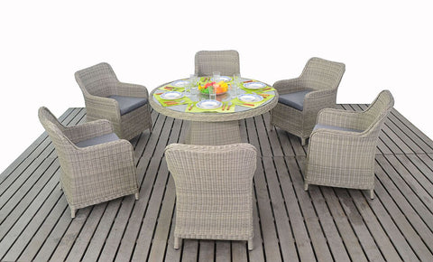 Highgrove Round 6 Seater Dining Set-Garden Furniture-Outdoor Living Experience