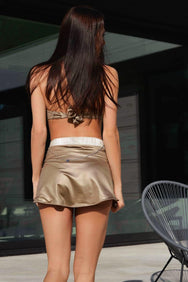 LINDA HIGH-WAIST SKIRTINI SET in Gold Pearl