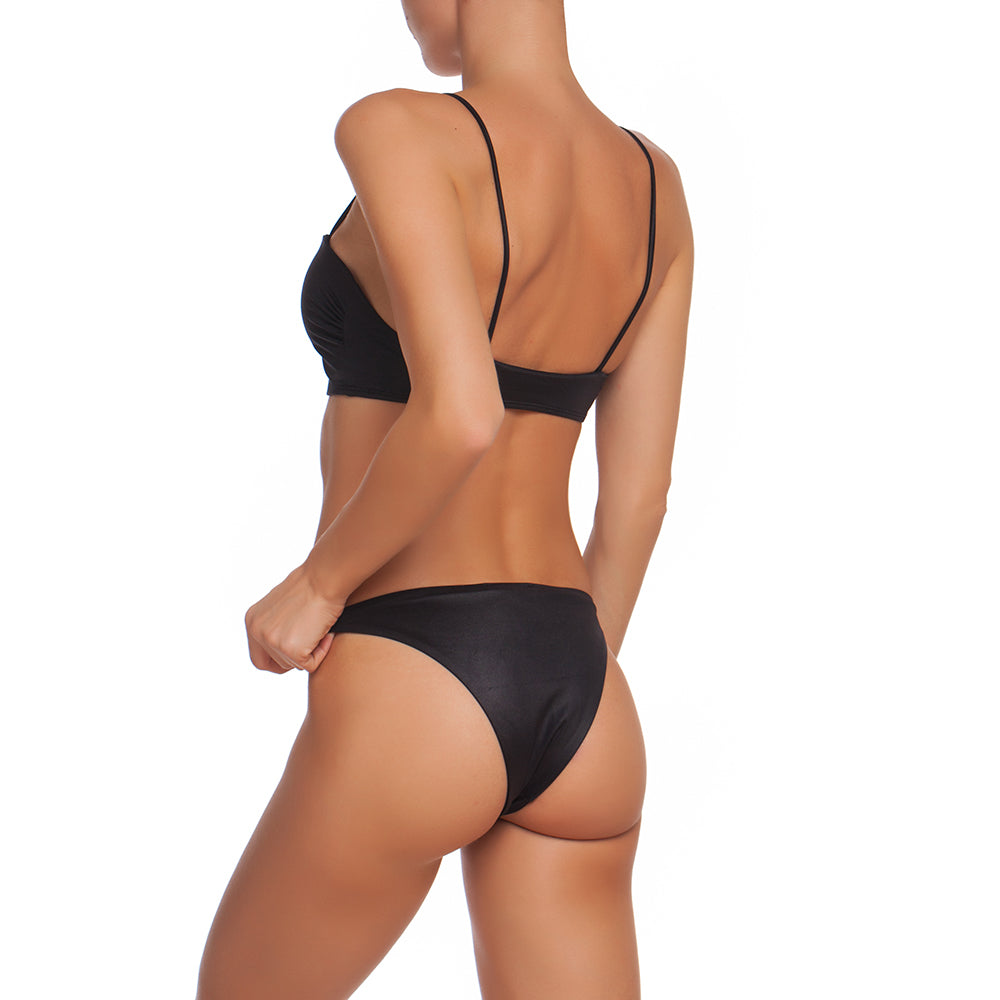 NIKKI SWIM SET, BLACK WET EFFECT