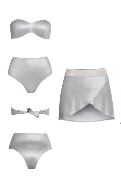 LINDA HIGH-WAIST SKIRTINI SET IN SILVER PEARL