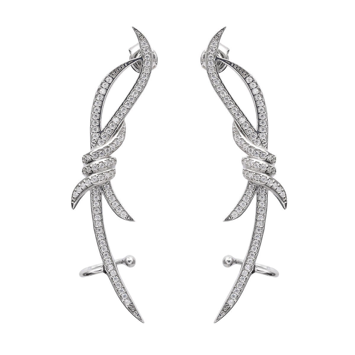 Barbed Wire Ear Cuffs, Rhodium Plated