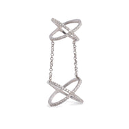 Glam Rock Chains Ring, Rhodium Plated