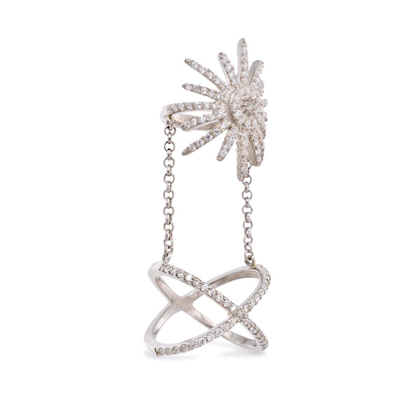 Sun Chains Silver Ring , Rhodium Plated