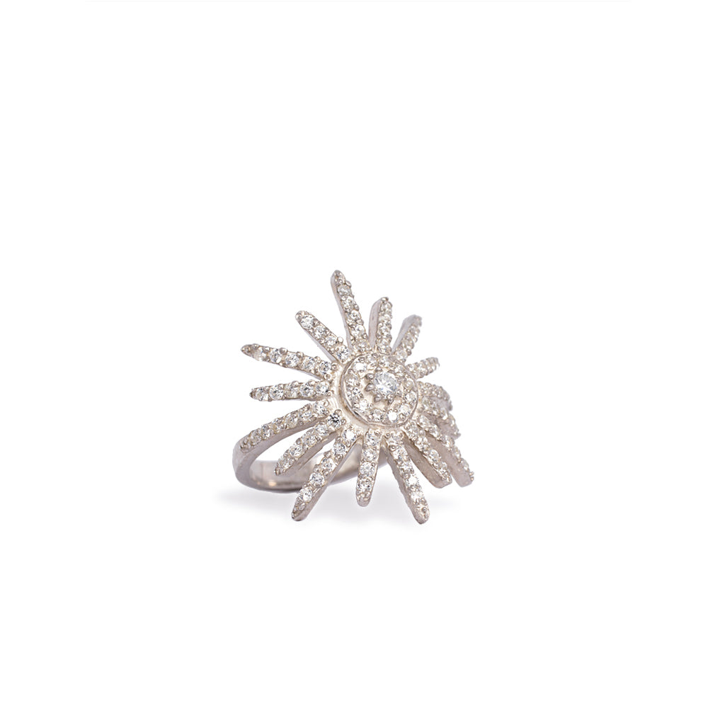 Sun Silver Ring with white cubic zirconia
