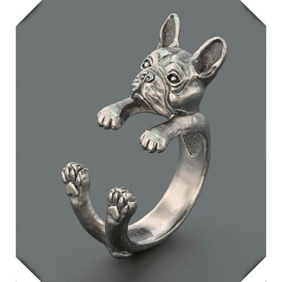 Antique Silver French Bulldog Ring