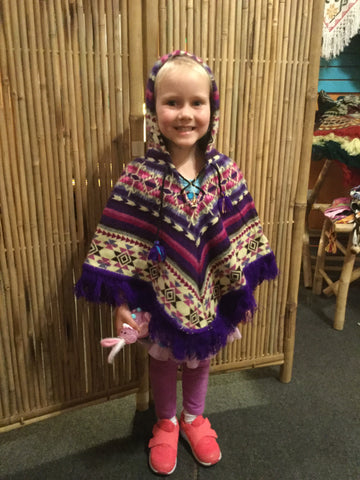 Kids' Alpaca Poncho with Fringe