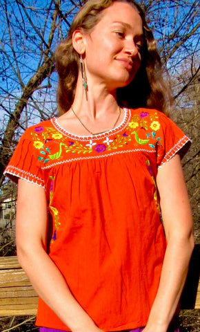 Chapalla Embroidered Traditional Mexican blouse