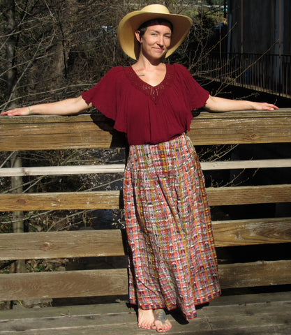 Guatemala Full Length Maxi Skirt with Pockets