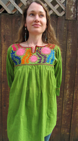 Chiapas Embroidered Traditional Mexican Blouse