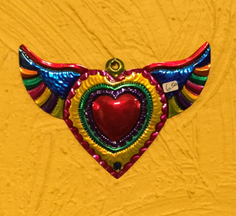 Hojalata Tin Art Flying Heart