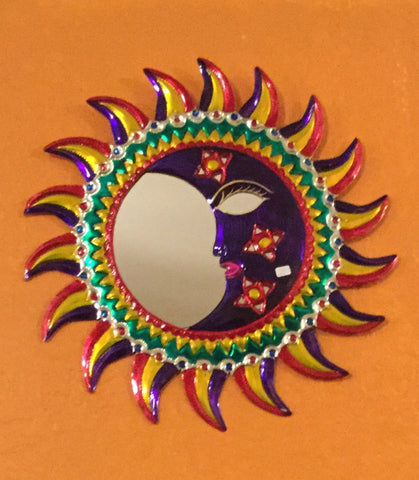 Hojalata Tin Art Eclipse Sun and Moon Mirror