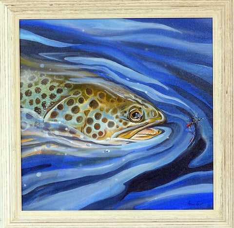 Blue Zulu, a painting of a brown trout by Angus Grant