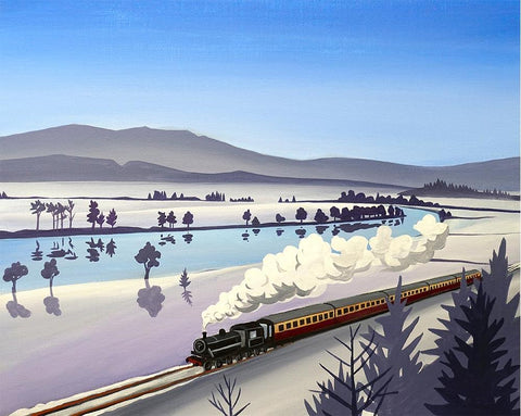 The Strathspey Railway train approaches Broomhill, a metal print by Angus Grant Art