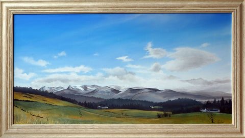 Cairngorms from Finlarig painting by Angus Grant