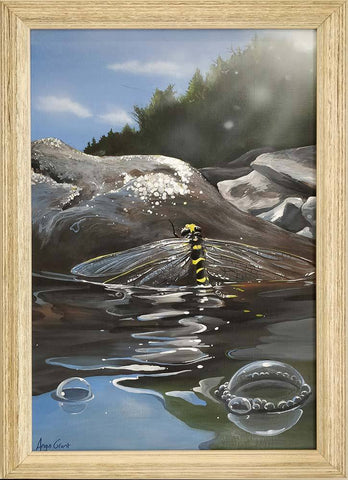 Dragonfly on Loch Treig painting by Angus Grant Art