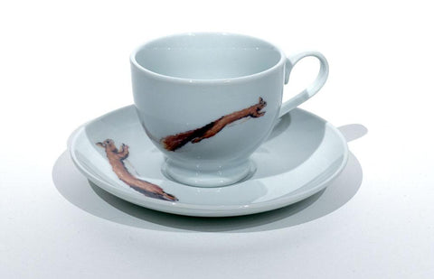 Red squirrel tea cup and saucer by Angus Grant Art