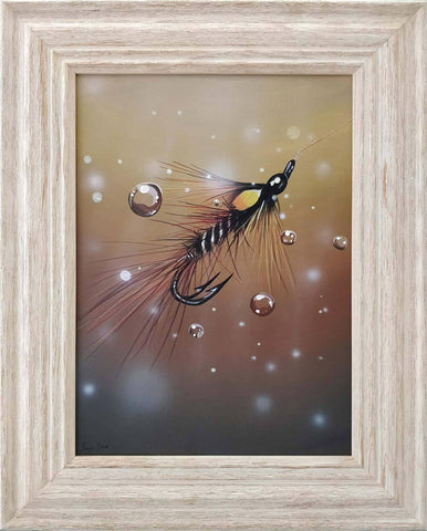 Painting of Claret Shrimp fishing fly by Angus Grant Art