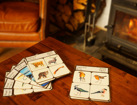 Highland Animals Coaster Set by Angus Grant Art, featuring Highland Cow, Stag, Wildcat and Red Squirrel