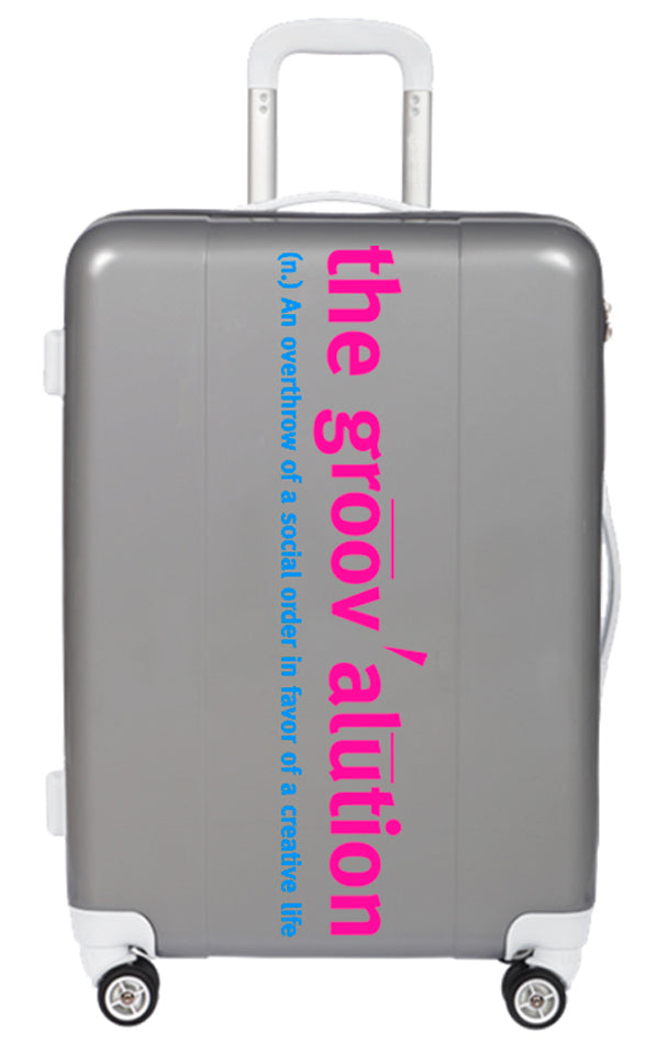 Pink & Blue on Silver Groovalution Suitcase