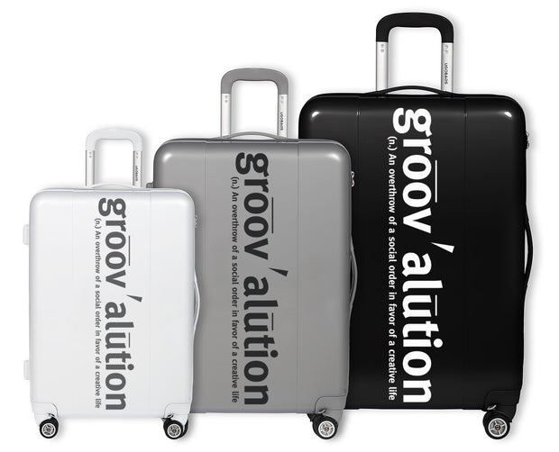 Grey & White Groovalution Suitcase