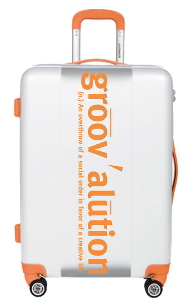 White & Orange Groovalution Suitcase