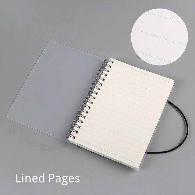 Stylish and modern spiral bound notebook in A5, A6 size with customizable pages