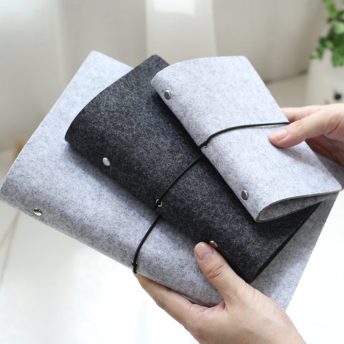 Soft felt shell fabric notebook, loose leaf inner core ring binder  A5, A6 size with customizable pages