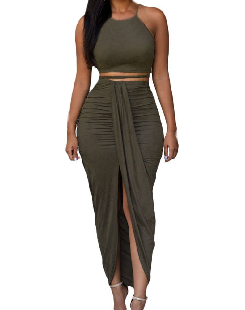 Womens Sexy Cotton Sleeveless Slit Two Piece Maxi Skirt Set