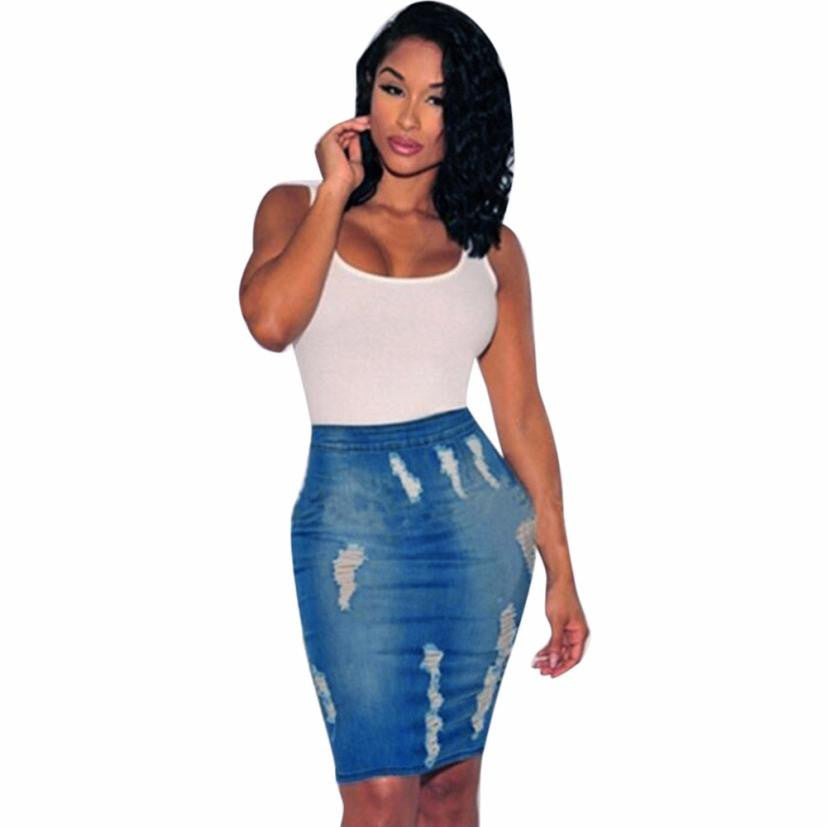 Denim skirt Women Stretch Bodycon Pencil High Waisted Hole Jeans Blue Wash Women Distressed Short Mini Skirt saia feminina