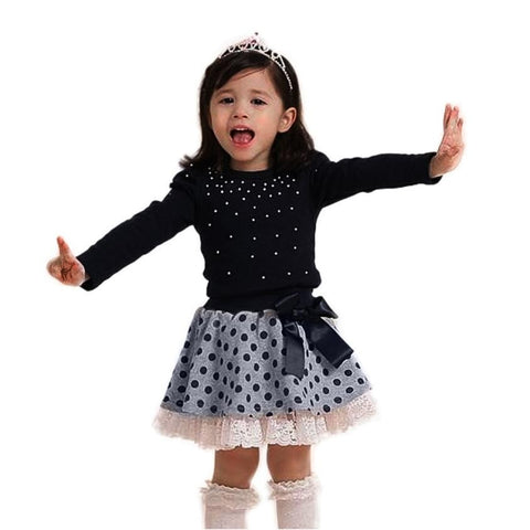 2017 Hot Girls Clothing Set Fashion Long Sleeve T-Shirt and Skirt 2pcs Suits Pearls Top Dot Lace Short Skirt Girls Baby Set