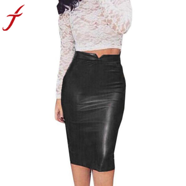 2017 New Women High Waist Classic Faux Leather Skirt Chic Slim Bodycon Pencil Skirts Party Thin Package Hip Saia Feminina