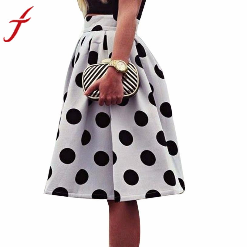 JECKSION Umbrella Skirt for Women 2016 Fashion White Bodycon Black Polka Dot Retro Puff Skirts European and American Style #LYW