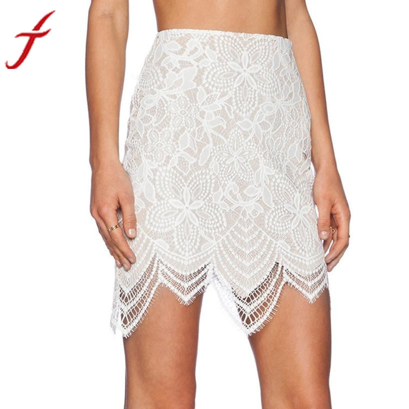 2016 Women Shirt Sexy White Hollow-out Lace Embroidery Package Hip Skirt Pencil High Waisted Vintage Skirt #LSW