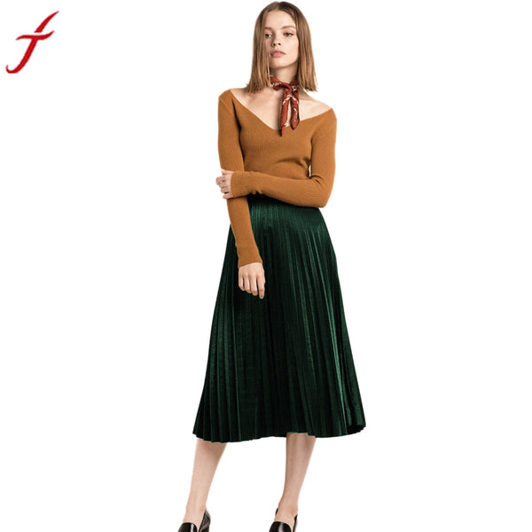 2017 High Waist Tutu Party Ladies Spring Summer Midi Skirt Fashion Pleated Velvet Seamless Stretch Party Cocktail Skirts #LSN