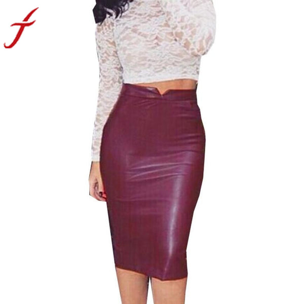 JECKSION High Waist Women Pencil Leather Skirt 2016 Fashion European Style Female Clothing Slim Party Skirt #LSIW