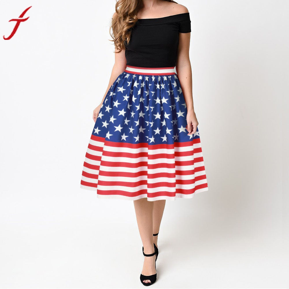 Vintage Women American flag Printed Midi Skirt Stretch High Waist Plain Skater Flared Pleated Ball Gown Skirt
