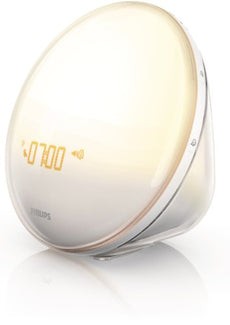 Philips Wake-Up Light Alarm Clock with Colored Sunrise Simulation and Sunset Fading Night Light, White (HF3520)
