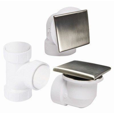Mountain Plumbing Square Style Trim Conversion Kit Tub Drain for PVC Pipe: Polished Chrome, NEW, OPEN BOX, box cold be damage
