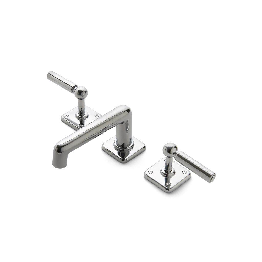 Ludlow Low Profile Three Hole Deck Mounted Lavatory Faucet with Metal Lever Handles, NEW, OPEN BOX, box cold be damage