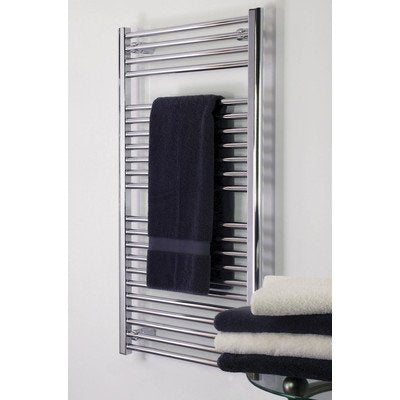 "Denby Towel Warmer Finish: Brushed Nickel, Size: 27"" H x 24"" W, Type: Hardwired, NEW, OPEN BOX, box cold be damage"