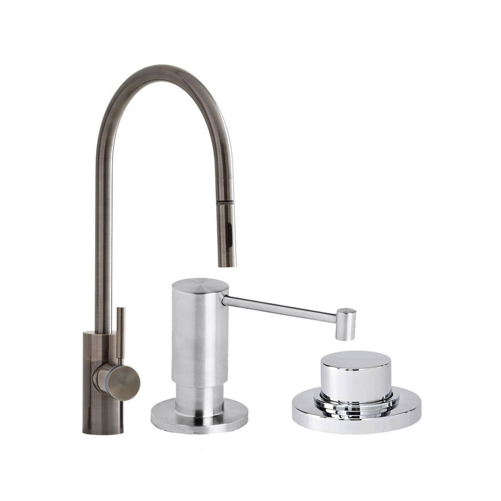 Waterstone 5300-3-SS Parche Single Handle Kitchen Faucet with Pull Out Spray, Soap Dispenser and Air Switch, Solid Stainless Steel  . New open box, NEW, OPEN BOX, box cold be damage