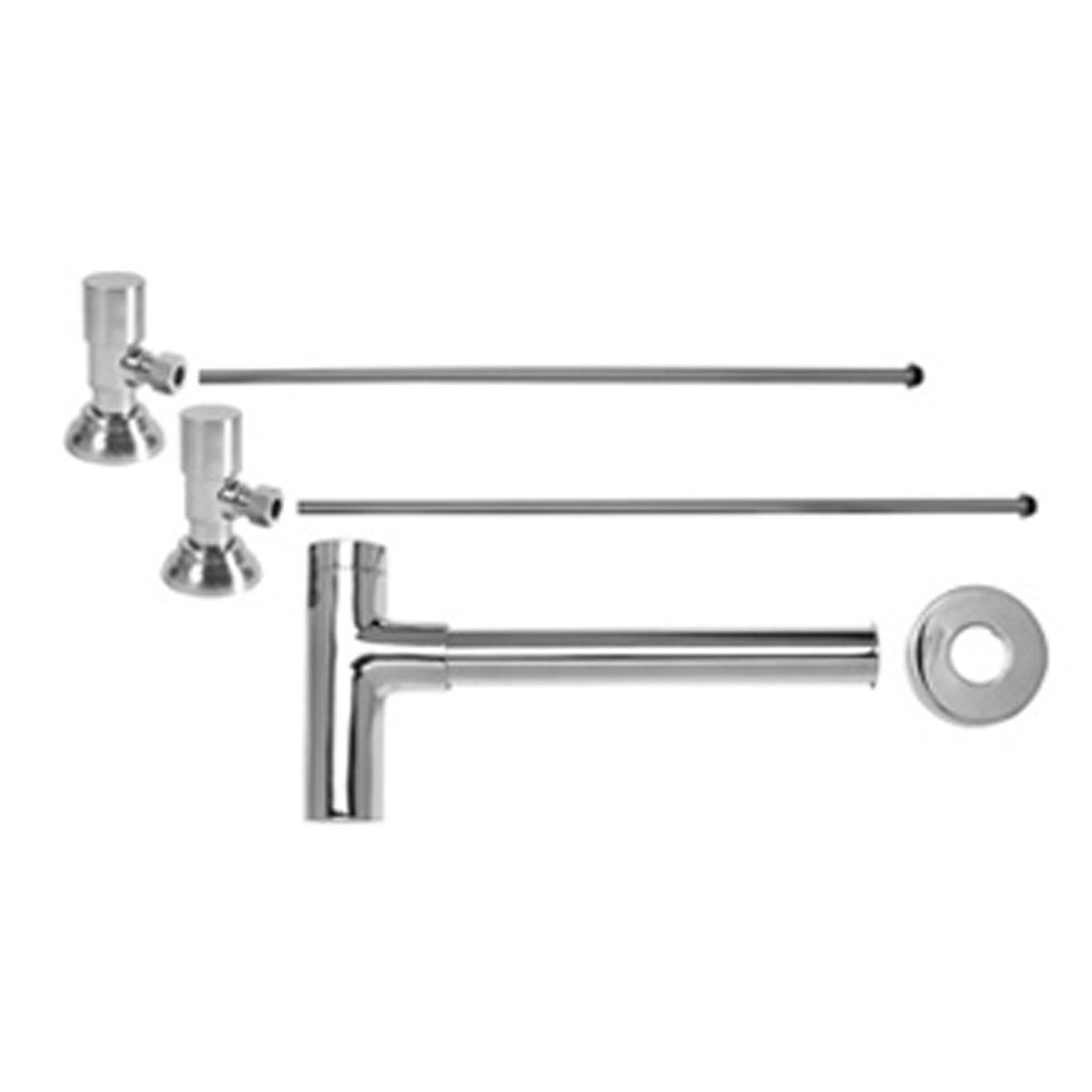 Mountain Plumbing MT9002-NL/CPB Lavatory Supply Kit with Decorative Trap and Clean-Out Plug Angle Contemporary Round Handle, Polished Chrome, NEW, OPEN BOX, box cold be damage