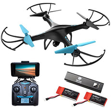 Drone with Camera Live Video - Cool WiFi FPV Quadcopter & Smartphone Remote Control - RC Robot Hover Toys for Adults, Teens, Kids, Boys & Girls w/ Extra Battery for Indoor and Outdoor Games