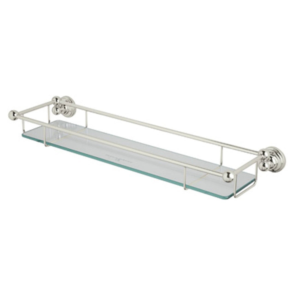 Rohl U.6953PN Perrin and Rowe Wall Mounted Glass Shelf with Towel Rack, Polished Nickel, NEW, OPEN BOX, box cold be damage
