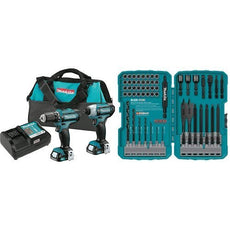 Makita CT226 12V Max CXT Lithium-Ion Cordless Combo Kit, (2 Piece), Style - Drill combo kit w/ 70 pc. bit set